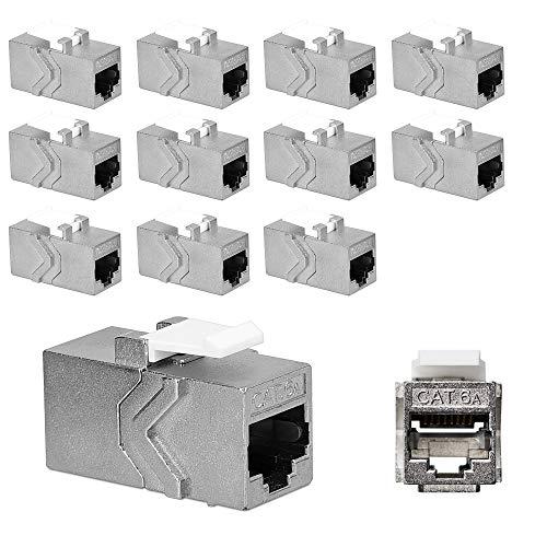 kwmobile 12x Keystone Modul für CAT 6A Kabel - 10 Gbit/s geschirmt Metall Gehäuse Schnappverschluss - Netzwerkkupplung Anschluss - Kabelverlängerung