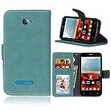 BgkjZX Funda Alcatel One Touch Pop C7 - para Alcatel One Touch Pop C7 Funda de Piel Mate,Caja del teléfono de la Ranura de la Tarjeta del tirón de la Anti-caída - Azul