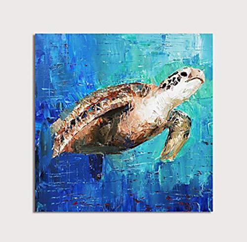 ZXJYH Dieren canvas muur kunst schildpad in zee bad aquarium handgeschilderd olieverfschilderij op canvas moderne slaapkamer kantoor badkamer grote horizontale woonkamer decoratieve 40×40inch (100×100cm)