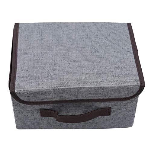 N-K Caja de almacenamiento de tela no tejida cesta de almacenamiento de ropa, caja de juguetes organizador con tapas, gris adorable calidad y práctico