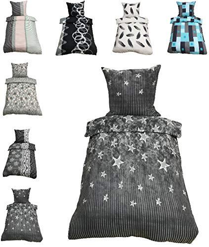 Leonado-Vicenti Thermofleece Bettwäsche 2 TLG / 4 TLG / 3 TLG Flausch Winter Garnitur Bettbezüge, Maße:2 teilig 155x220 cm, Farbe:Sterne grau