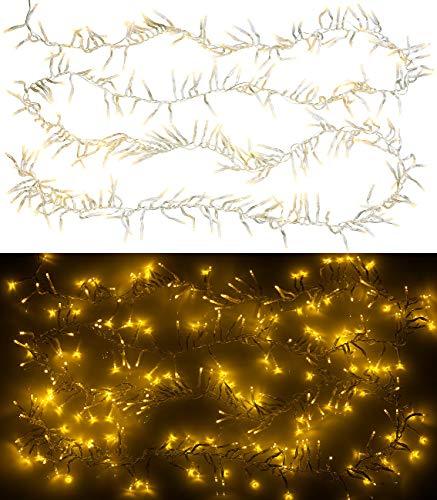 Lunartec Cluster Lichterkette: LED-Büschel-Lichterkette, 300 warmweiße LEDs, 8 Leucht-Modi, IP44, 3 m (Weihnachtsbeleuchtung aussen)