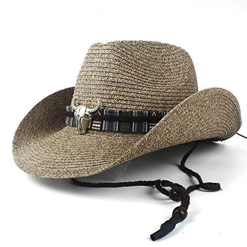no-branded Sombrero unisex para caballero de vaquero occidental hueco para papá para la playa, sombrero de paja humber Panamá Cowboy Jazz Sun Cap LJPEUR (color: café, tamaño: 56-58)