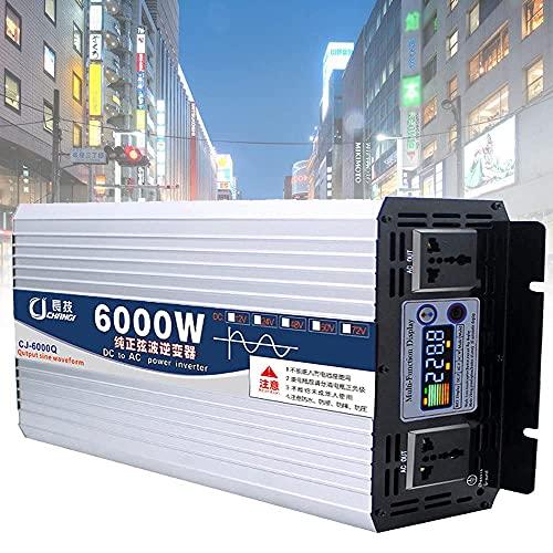GZTYLQQ Inverter da 12V/24V/48V/60V a 110V/220V per Auto, Inverter a Onda sinusoidale Pura 6000W 8000W, 2 Prese AC per Camper, con Display a Colori Intelligente, 6000W-24Vto110V