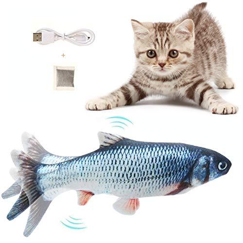 Flysee Hierba gatera Eléctrica Juguete Pez para Gato,Peluche de Juguete eléctrico de simulación Fish con Carga USB,Mascotas Interactivo de Felpa Pez para Masticar, patear, morder y Dormir