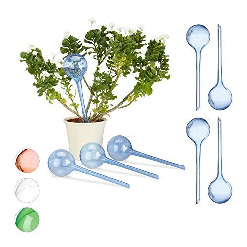Relaxdays 8 x Bewässerungskugeln im Set, Dosierte Bewässerung, 2 Wochen, Versenkbar, Deko, Topfpflanzen, Kunststoff, blau