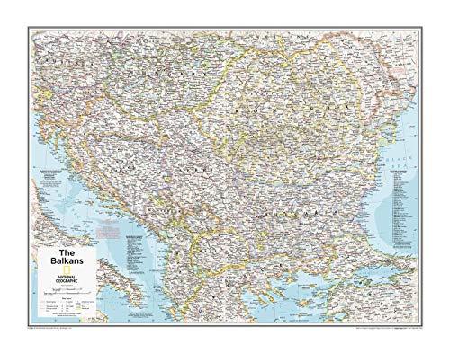 National Geographic: mappa da parete dei Balcani, 28 x 56 cm, rotolo di carta