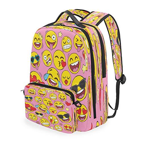 RXYY Funny Smile Emoji Emoticon Pink Backpack Detachable College Student School Shoulder Computer Bags Backpacks Crossbody Laptop Bag Travel Bag Daypack Hiking for Girls Boys Women Men Kids