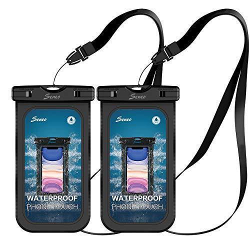 Wasserdichte Handyhülle Seneo Tauchen Wasserschutzhülle DOPPELT VERSIEGELT wasserdichte Handytasche 6, 8 Zoll Staubdicht für iPhone 11/iPhone X/XR/8/7/Galaxy S20/S10/S9/S8/S7/Huawei P30/P20/P10