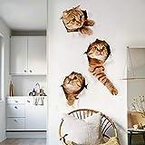HGFJH 3pcs / set 3D Funny Cat Pegatinas de pared para habitación de niños Dormitorio Baño Refrigerador Arte Impermeable Pegatinas de baño