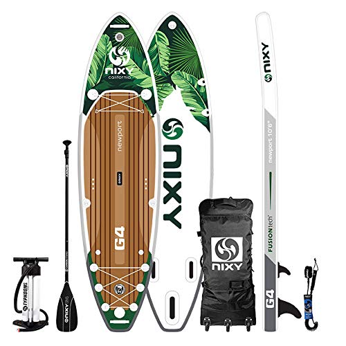 """NIXY Newport Paddle Board All Around Inflatable SUP 10'6' x 33"""" x 6"""" Ultra-Light Stand Up Paddleboard Built with Dual Layer Woven Drop Stitch Includes Carbon Hybrid Paddle, Pump, Bag & More (Maui)"""