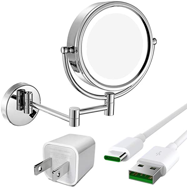 GURUN 8 5 Inch LED Lighted Wall Mount Makeup Mirror With 10x Magnification Chrome Cordless USB Rechargeable 1809DC3 8 5in 10x