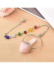 Natuursteen Reiki Healing 7 Chakra Pendulum Natural Crystal Wicca Hexagonal Prism Pyramid Stone voor Dowsing Mineral Sieraden Amulet DIY Gift