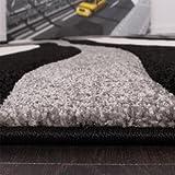 Paco Home Designer Teppich mit Konturenschnitt Wellen Muster Schwarz Grau Weiss, Grösse:80x150 cm - 5