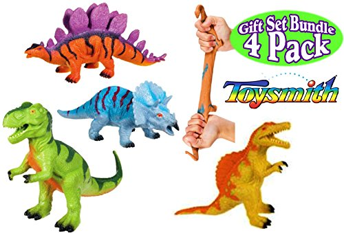 Toysmith Dinosaur Squishimals Blue, Green, Orange & Yellow Complete Gift Set Bundle - 4 Pack