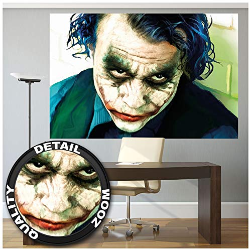 GREAT ART XXL Poster – Joker – Wandbild Dekoration Heath Ledger Batman The Dark Knight Clowns Film Gotham Bösewicht DC Comic DC Universe Wandposter Fotoposter Wanddeko Bild (140 x 100 cm)