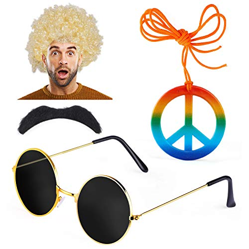 Haichen hippie kostuum mannen jaren 70 60s Afro pruik hippie zonnebril snor vredesteken ketting fancy dress accessoire (E)