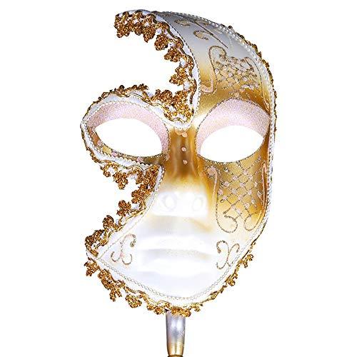 FYMDHB886 Halloween Cosplay Kostuummasker Maskerade Half Gezichtsmasker met Stick (Gouden) Meerdere kleuren, Size, Kleur: wit