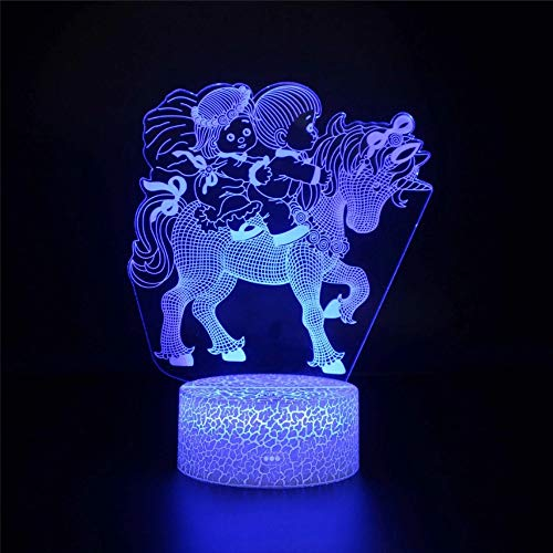 Funny Multi-Color Anime Characters and Cartoon Pony 3D lamp Table lamp Holiday Birthday USB Interface Children Room Decoration