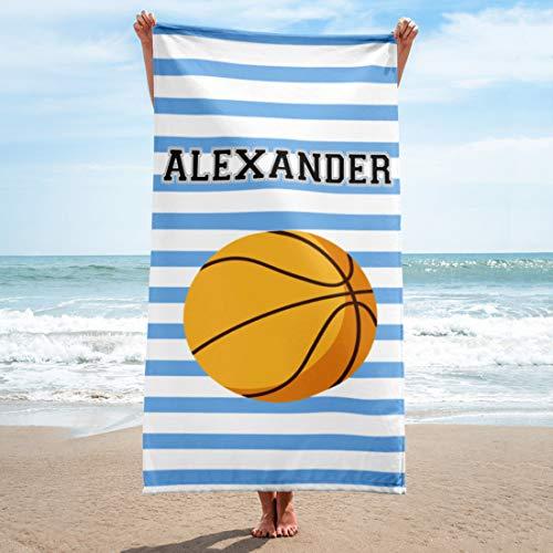 Personalized Beach Towels for Women Kids Girls Boys Adults Men. Custom Name Beach Towel with Name Mermaid Flamingo Pineapple Shark Honeymoon Basketball Baseball Summer Gifts (Basketball, 32' x 64')