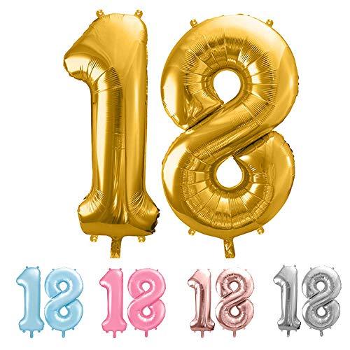balloonfantasy Partyboutique Balloon Fantasy Zahlen Luftballon Set XXL / Luftballons Geburtstag / Ballon Zahlen (Gold, 18)