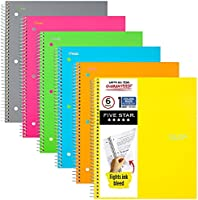 Five Star Spiral Notebooks, 1 Subject, College Ruled Paper, 100 Sheets, 11 x 8-1/2 inches, Assorted Colors, 6 Pack (38057)