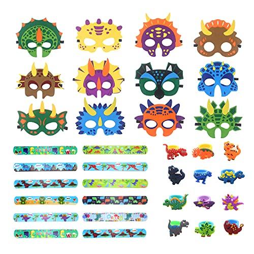 Udekit Dinosaurier Masken mit Armband Ringe Filz Augenmaske Armreif Ringe Partyzubehör Dekorationen