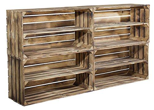 Vintage-Möbel24 GmbH 4er Set große geflammte Holzkiste mit Mittelbrett als Schuhregal oder Bücherregal - breite Obstkiste flambiert XXL als Kistenregal/Schuhkiste 68x40x30cm