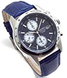 SEIKO クロノグラフ 腕時計 本革ベルトセット 国内セイコー正規流通品 ネイビー ブルーベルト SND365P1-BL 並行輸入品