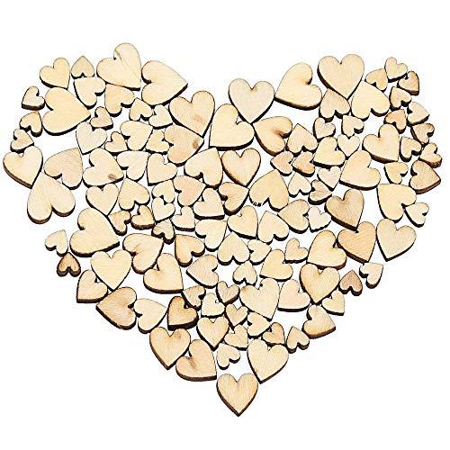 Wohlstand 300 Stück Herz Holz, Mixed Holzherzen,Scheiben Naturholzscheiben unlackiert Vier Größe, für Hochzeit Handwerk DIY Handwerk Verzierungen (6/8/10/12mm)