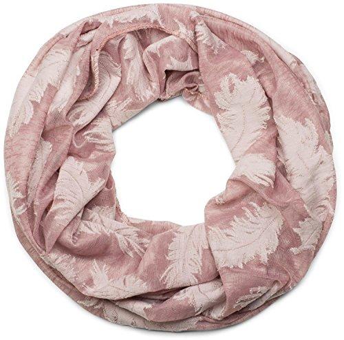 styleBREAKER Loop Schal mit gewebtem Feder Muster, Schlauchschal, Tuch, Unisex 01017068, Farbe:Altrose