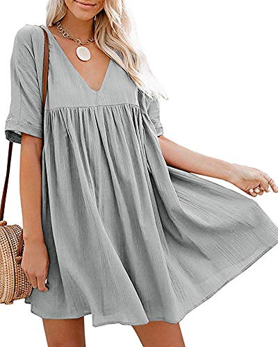 Hestenve Women's Short Sleeve V Neck Pleated Babydoll Solid Color Tunic Party Swing Mini Dress Grey
