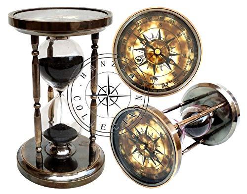 Hanzla Collection Antiker Messing-Kompass, Sanduhr, maritime, alte Sanduhr