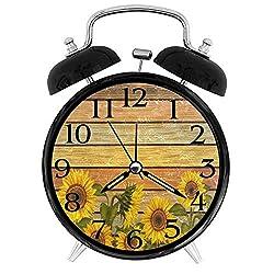 GeTJonesRiGhT Autumn Sunflowers On Wooden Board Alarm Clock Silent Round Alarm Clock Battery Operated Creative Decorative Clock for Kids Living Room Bedroom Office Kitchen Home Decor