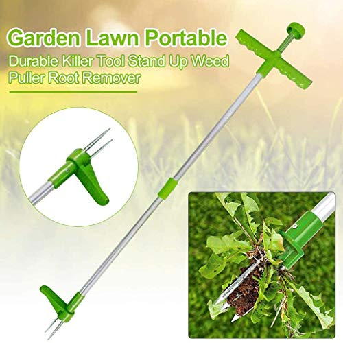 Affordable RGERG Standing Plant Root Remover, 3 Claws Stand Up Weed Puller Garden Hand Tool with 39...