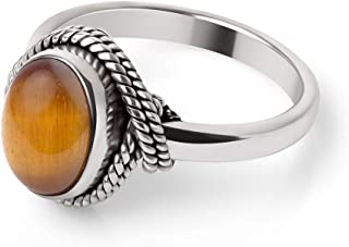 Chuvora 925 Sterling Silver Tiger Eye Gemstone Oval Rope Edge Vintage Band Ring Size 6, 7, 8