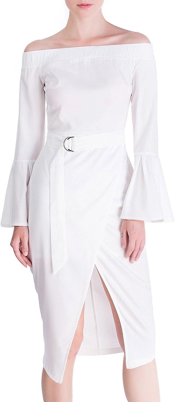 DISBEST Women's Midi Dresses Elastic Off Shoulder Horn Sleeve Slim Party Evening Dress