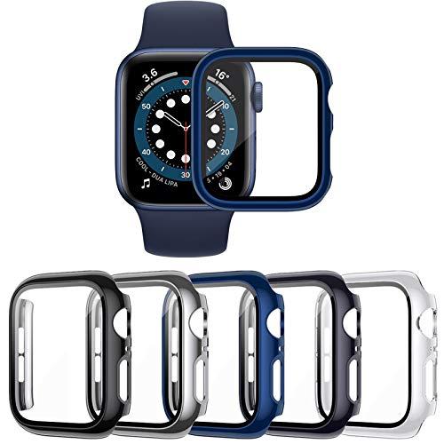 VASG [5 Pezzi] Custodia compatibile con Apple Watch Series 6 5 4 SE 44mm PC Cover con Protezione in Vetro Temperato per Custodia Protettiva compatibile con iWatch