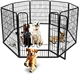 BUNNY BUSINESS Heavy Duty 8 Panel Puppy Play Pen/ Rabbit Enclosure, Medium, Gunmetal Grey