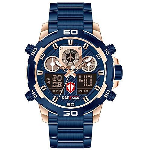 Armbanduhren,Multifunktionale Dual-Display-Quarzuhr Stahlband Herren Sport wasserdichte Kalenderuhr, Rose Blue Shell Rose Nadel