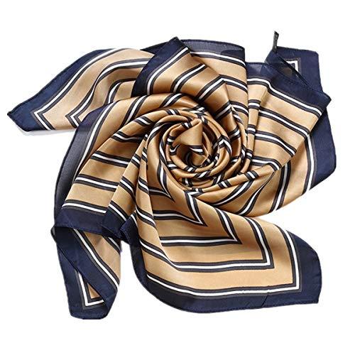 HIDOUYAL Grande Foulard Carré 70 X 70cm en Soie et Polyester Mélangé Carreaux ,Taille unique,Marron