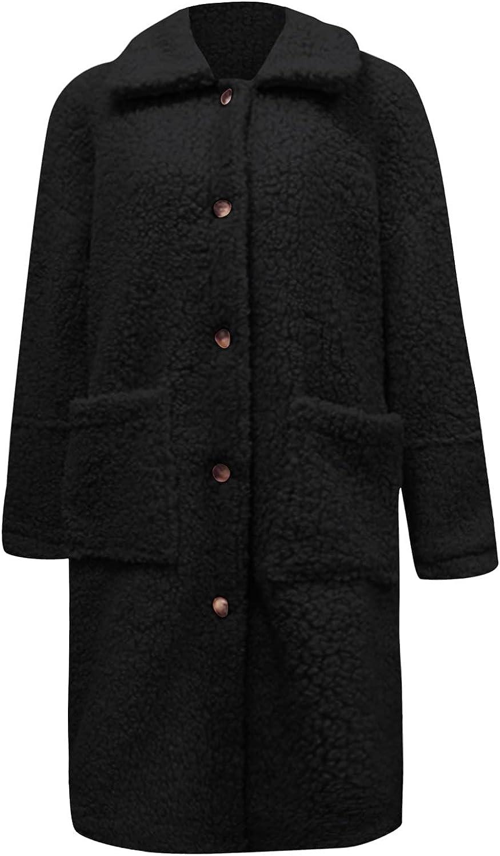 Sunhusing Women's Fuzzy Fleece Lapel Coat Open Front Long Cardigan Coat Faux Fur Warm Winter Outerwear Jackets with Pockets