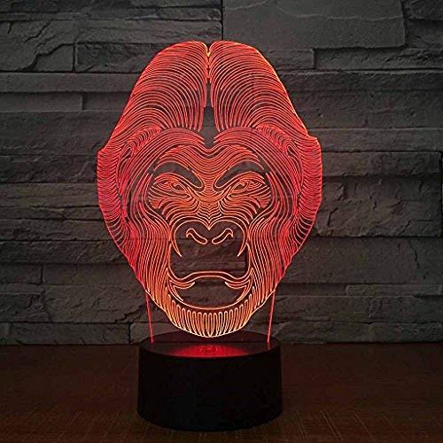 Led Nachtlampje / 3D Visuele Illusielamp / 7 Kleuren/Nachtkastje Baby Slaap Nachtlampje/Verjaardag/Vakantiegiften Voor Kinderen/Aap Mensen Tafellamp