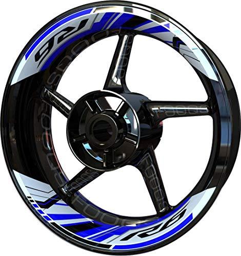 Motocicleta Moto Llanta Inner Rim Tape Decal Pegatinas F2 para Yamaha YZF R6 YZFR6 YZF-R6 (Blanco/Azul)