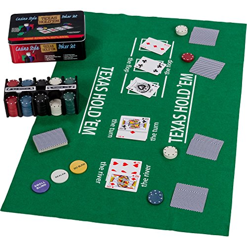 Maxstore Pokerset in Metallbox, 200 Poker Chips, 2 Decks, Dealer Button, Small Blind, Big Blind, Spielmatte Texas Holdem