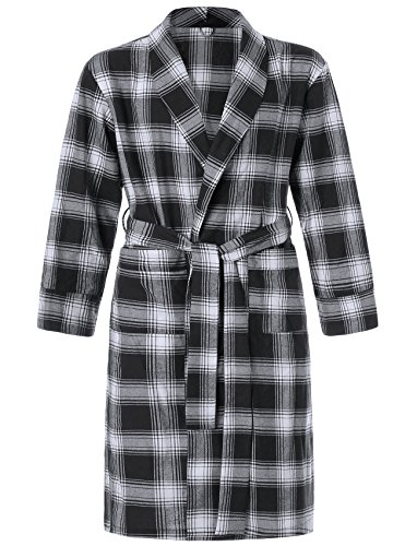 Image of Black Plaid Flannel Bath Robe for Men - See More Colors