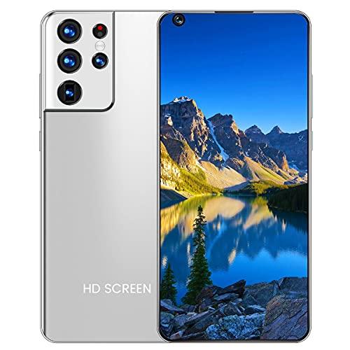 ZHKXBG S21 Ultra de 7.3 Pulgadas con Pantalla Curva, Gran Memoria, teléfono Inteligente, reconocimiento Facial, iPhone, Tarjetas SIM Dobles con batería de 6800 mAh,Gris