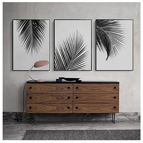 jiayuhong Nordic Minimalista Negro Blanco Palmera Hojas Lienzo Pintura Posters Impresiones Hogar Sala de Estar Arte de la Pared Imagen Decorativa 50 * 70cm Sin Marco