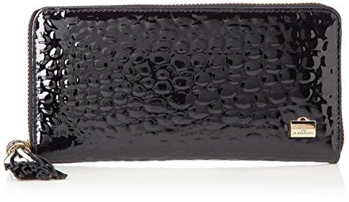[ラバガジェリー] クロコ型押しエナメル 長財布 B62-92-06 ブラック