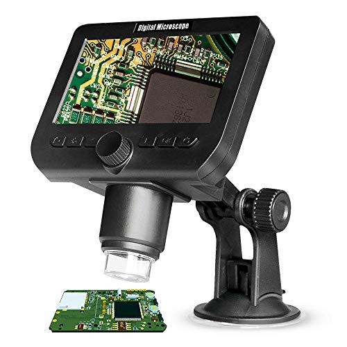 KKmoon - Microscopio (1000 x 2,0 Mpx, con función inalámbrica, pantalla de 4,3 pulgadas con 8 luces LED regulables, base con ventosa)